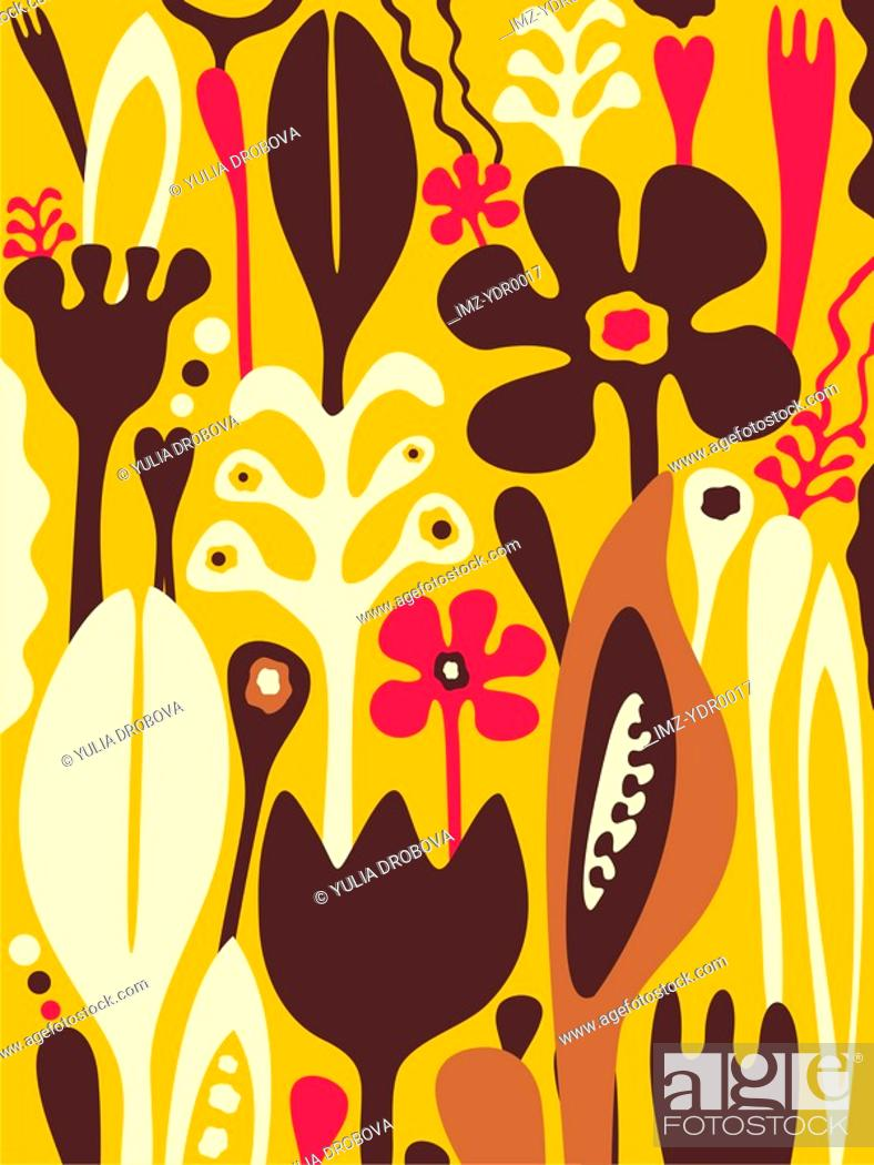 Stock Photo: A whimsical illustration of flowers and plants.