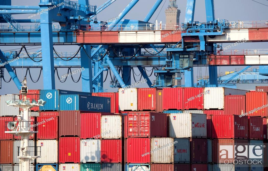 Stock Photo: Container ship in the port of Genoa.