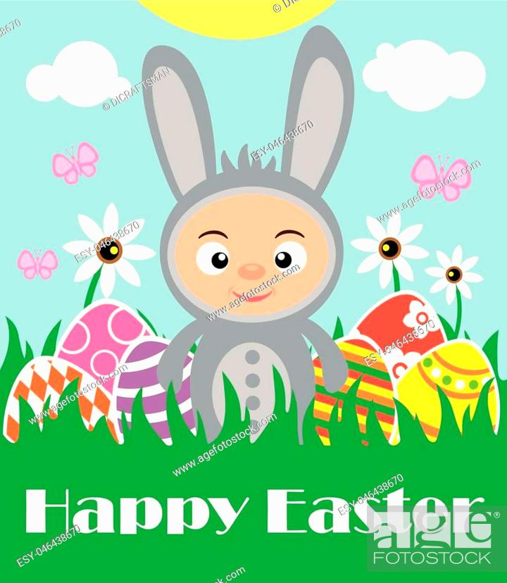 Vector: Easter background with boy in costume rabbit.Vector illustration.