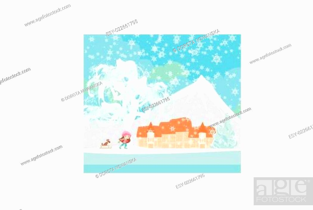 Stock Vector: Winter in the village.