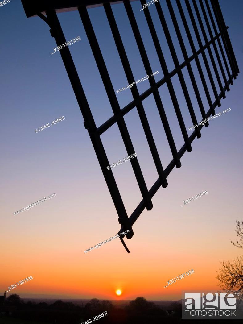 Stock Photo: Silhouette of Ashton Windmill sail at sunset  Chapel Allerton, Somerset, England, United Kingdom.
