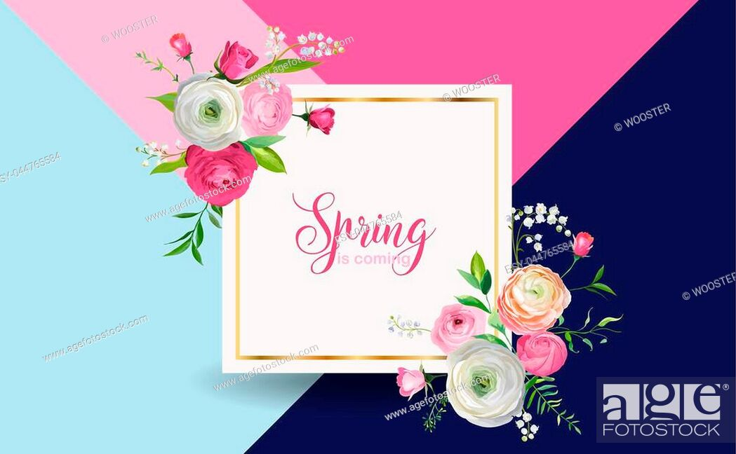 Stock Vector: Hello Spring Floral Design with Blooming Pink Flowers. Botanical Springtime Background for Decoration, Poster, Banner, Voucher, Sale.