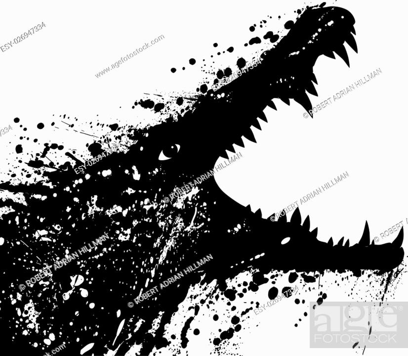 Stock Vector: Vector illustration of a grungey crocodile launching an attack.