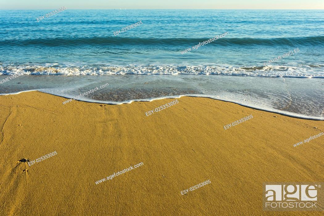 Stock Photo: Beach, Caldes d'Estrac, Barcelona province, Spain.