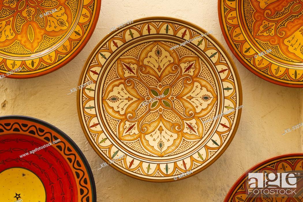 Stock Photo: Souvenir plates Medina old town Essaouira central Morocco.
