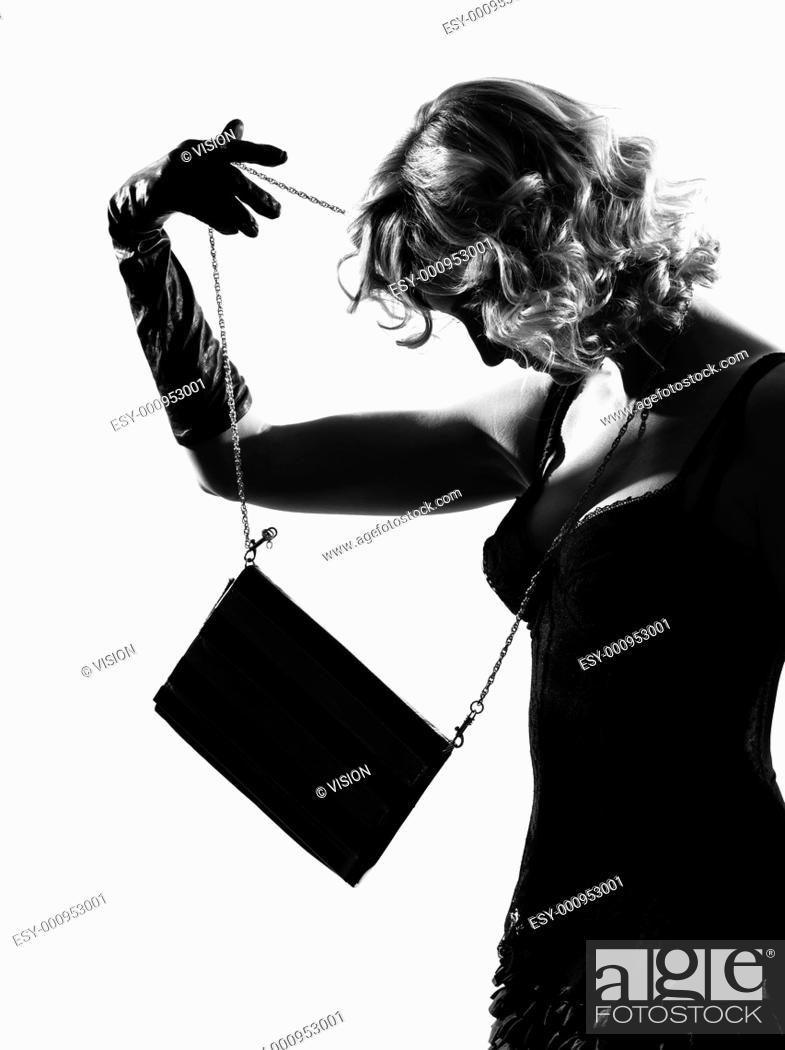 Stock Photo: stylish silhouette caucasian beautiful woman sexy attitude behavior clothes full length on studio isolated white background.