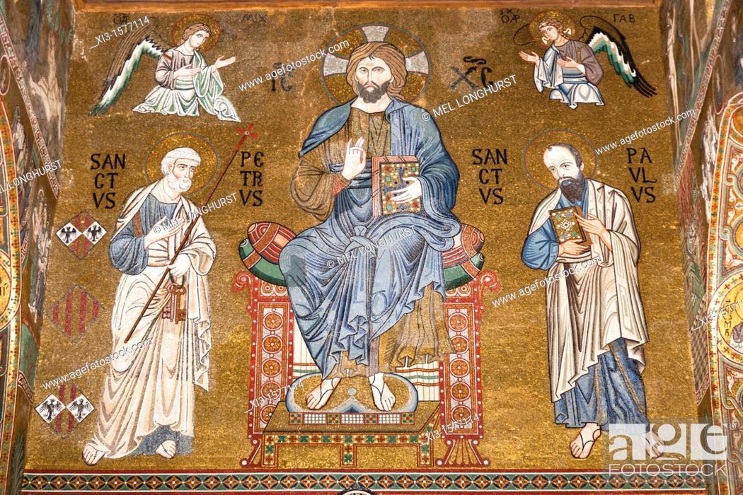 Stock Photo: Jesus Christ, St Peter and St Paul mosaic, Cappella Palatina, Palazzo dei Normanni, Palermo, Sicily, Italy.