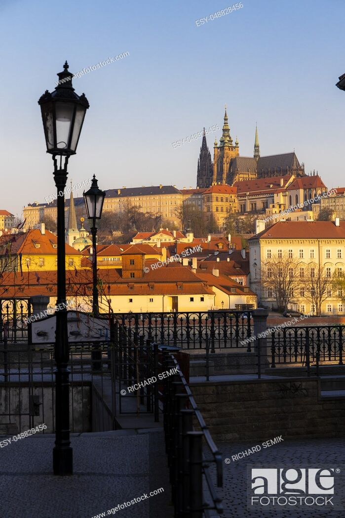 Stock Photo: Panorama of Hradcany at sunrise, Czech Republic.