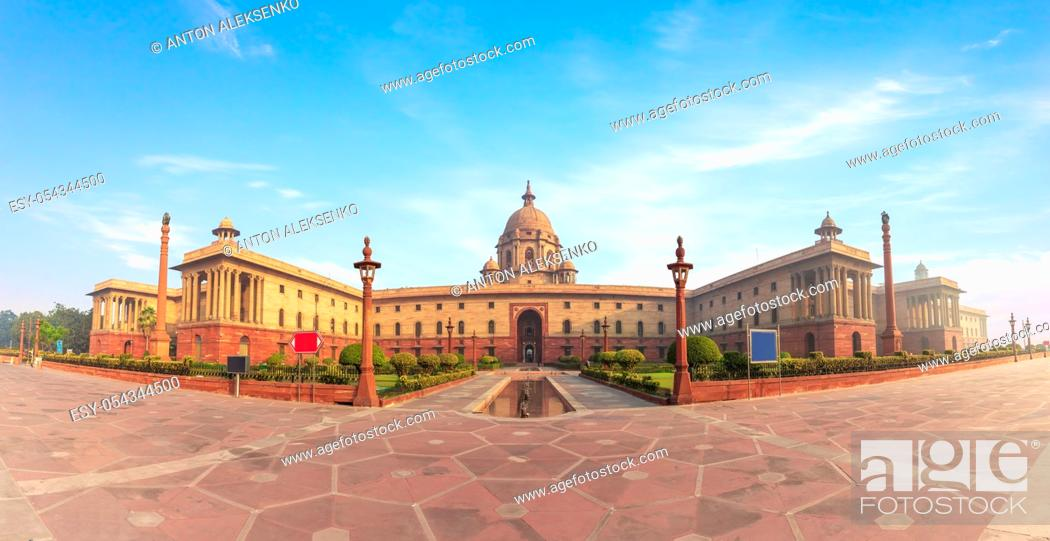 Stock Photo: The Rashtrapati Bhavan, the Presidential palace in New Delhi, India, beautiful panorama.