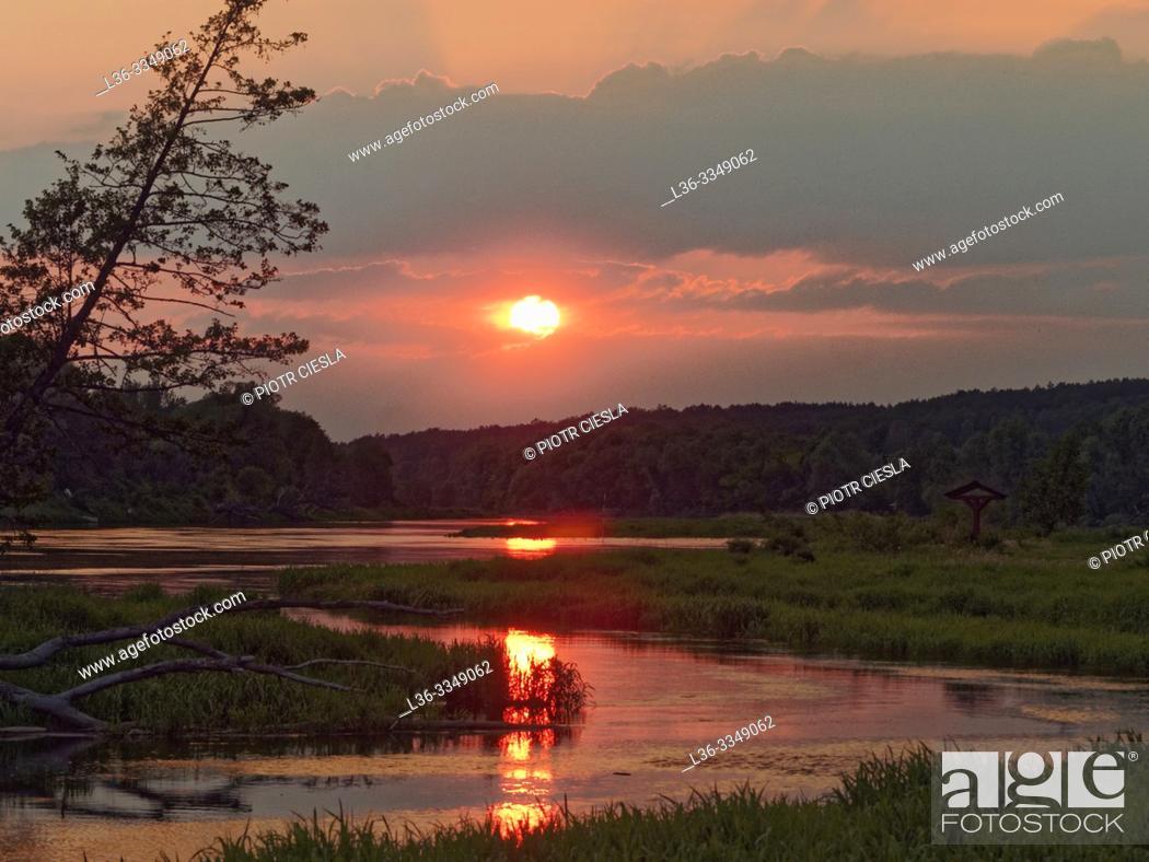 Stock Photo: Sunset on river Bug. Mielnik. Podlasie region, Poland.