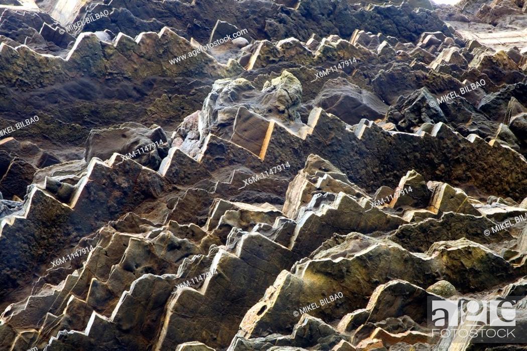 Stock Photo: Rocks in the coast  Gaztelugatxe  Bermeo, Busturialde-Urdaibai county  Biscay, Basque Country, Spain.