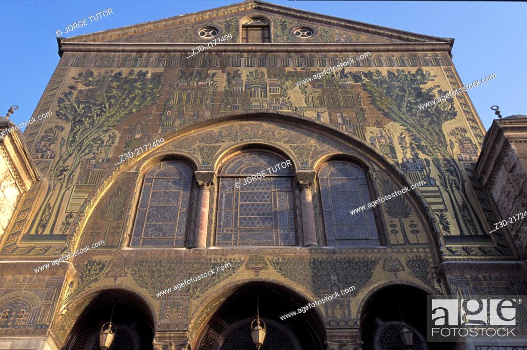 Stock Photo: Mosaics in the Umayyad Mosque, also known as the Great Mosque of Damascus, Syria.