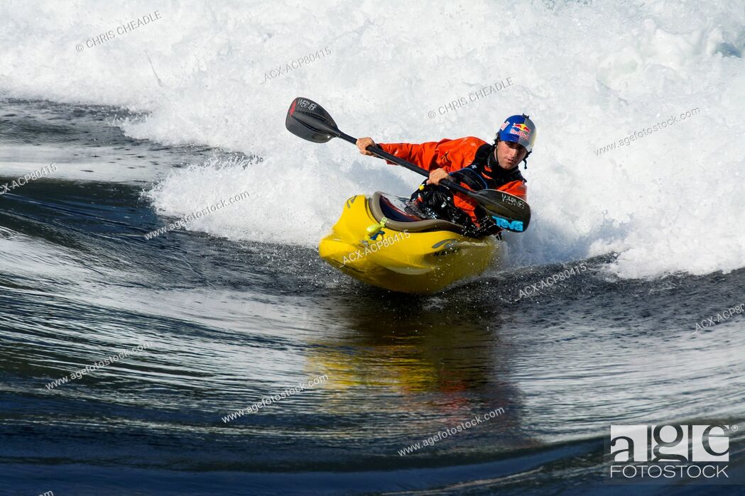 Stock Photo: Whitewater kayakers on flood tide at Skookumchuck Narrows, Sechelt Inlet, Sunshine Coast, British Columbia, Canada.