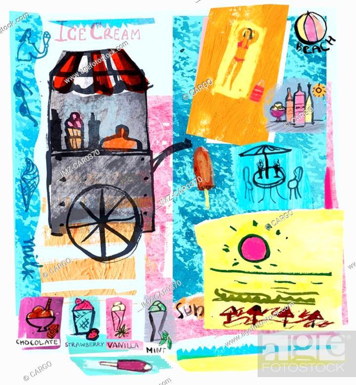 Stock Photo: Collage of ice-cream cart, sun and beach, illustrating summer.