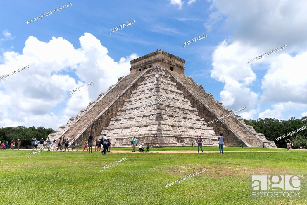 Stock Photo: Mexico, Chichen Itza. Is located in the eastern portion of Yucatán state in Mexico Chichen Itza was a major focal point in the Northern Maya Lowlands from the.
