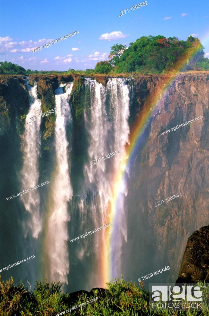 Stock Photo: Zimbabwe, Victoria Falls, Zambezi River, rainbow,.