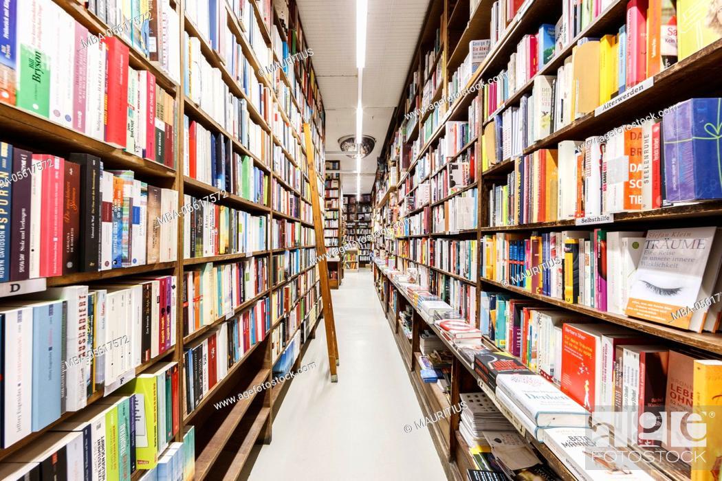 Stock Photo: Europe, Germany, Hessen, Frankfurt, stock of a traditional bookstore.