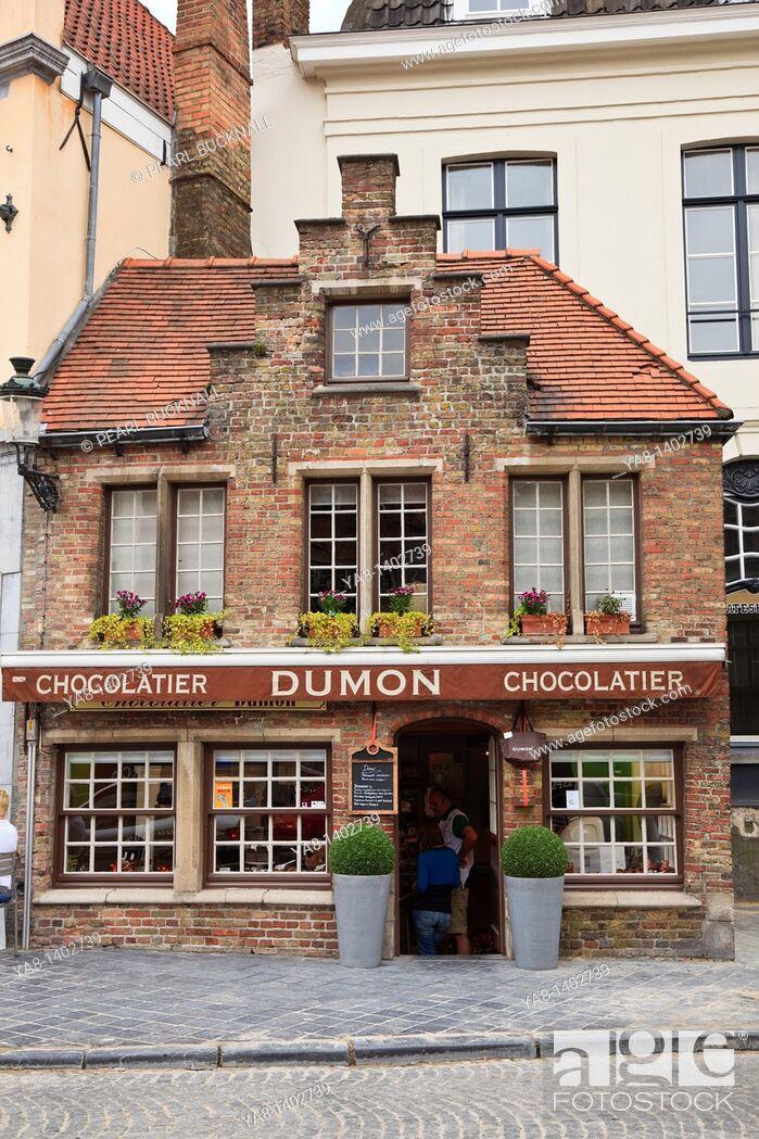 Stock Photo: Bruges, East Flanders, Belgium Europe  Dumon chocolatier shop selling Belgian chocolates.