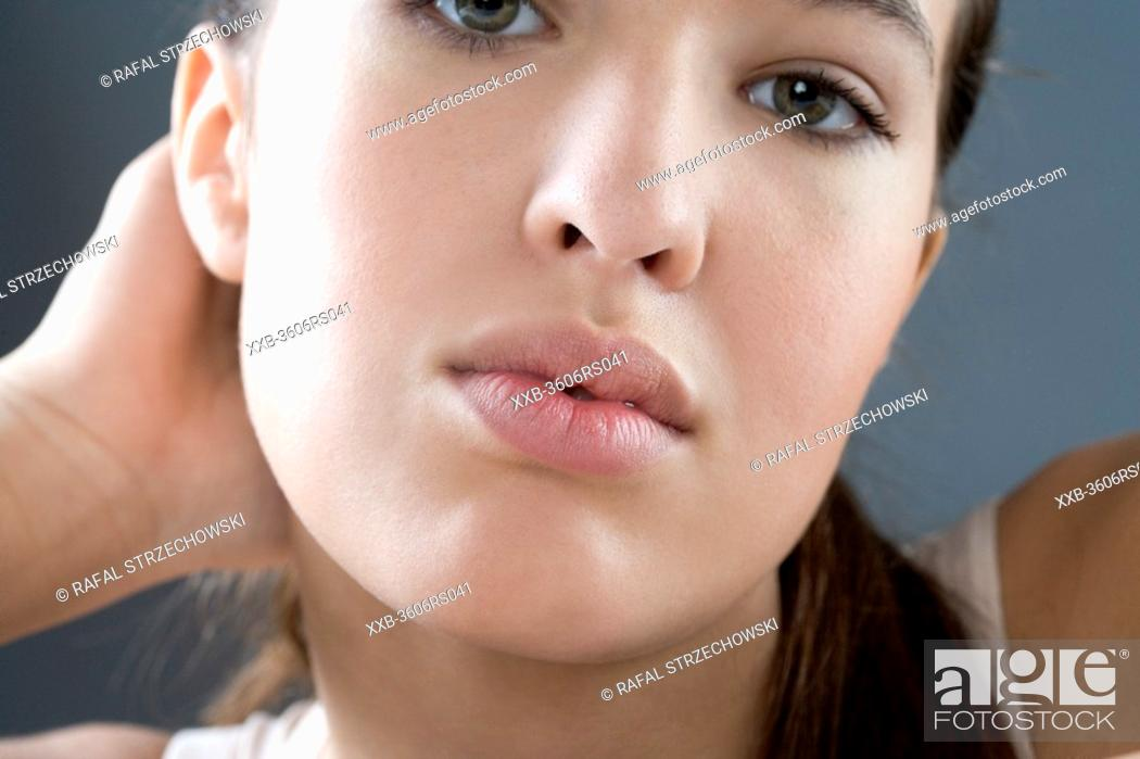 Stock Photo: close up of young woman.
