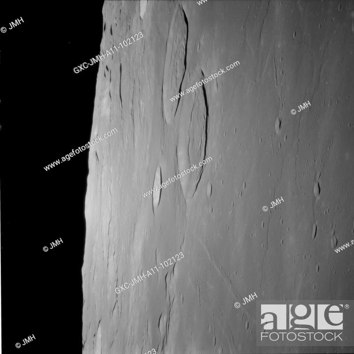 Stock Photo: (processed) apollo 11 hasselblad image from film magazine - lunar orbit. Apollo 11 mission, first landing on the moon, july 1969, with astronauts neil armstrong.