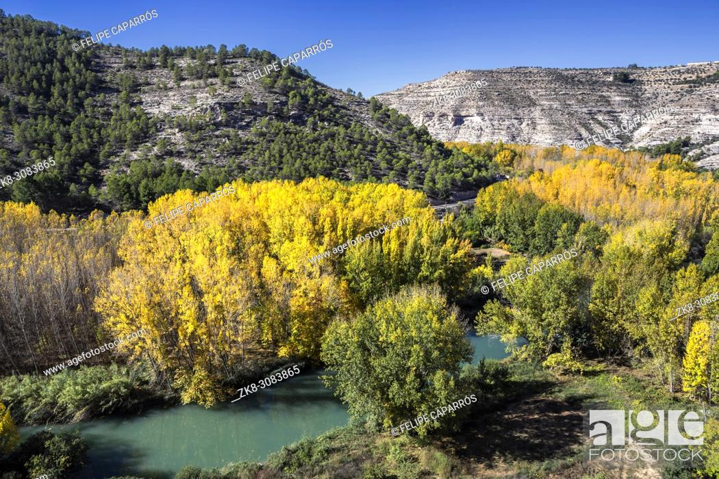 Stock Photo: Panoramic view of the valley of the river Jucar during autumn, take in Alcala del Jucar, Albacete province, Spain.