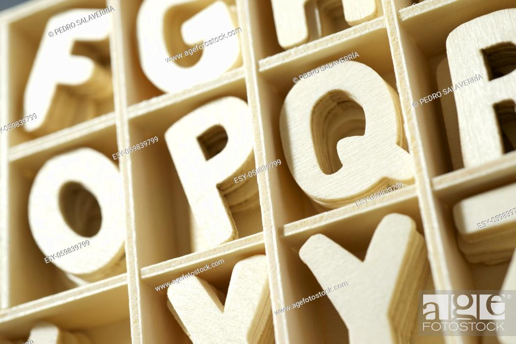 Photo de stock: Wood letters in a box.