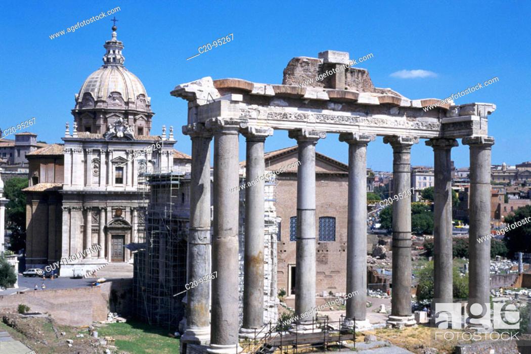 Stock Photo: Saturn's Temple. The Forum. Rome.
