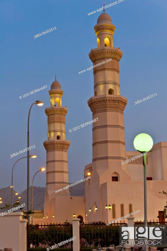 Stock Photo: Arabia, Arabian peninsula, Sultanate of Oman, peninsula Musandam, Khasab, sultan Qaboos Moschee.