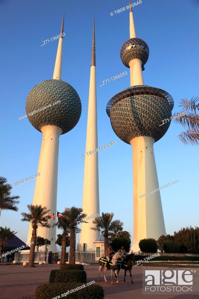 Stock Photo: Kuwait, Kuwait City, Kuwait Towers.
