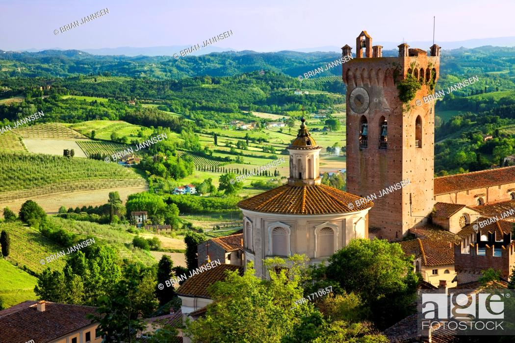 Stock Photo: Duomo and Campanile with the Tuscan countryside beyond, San Miniato Tuscany Italy.