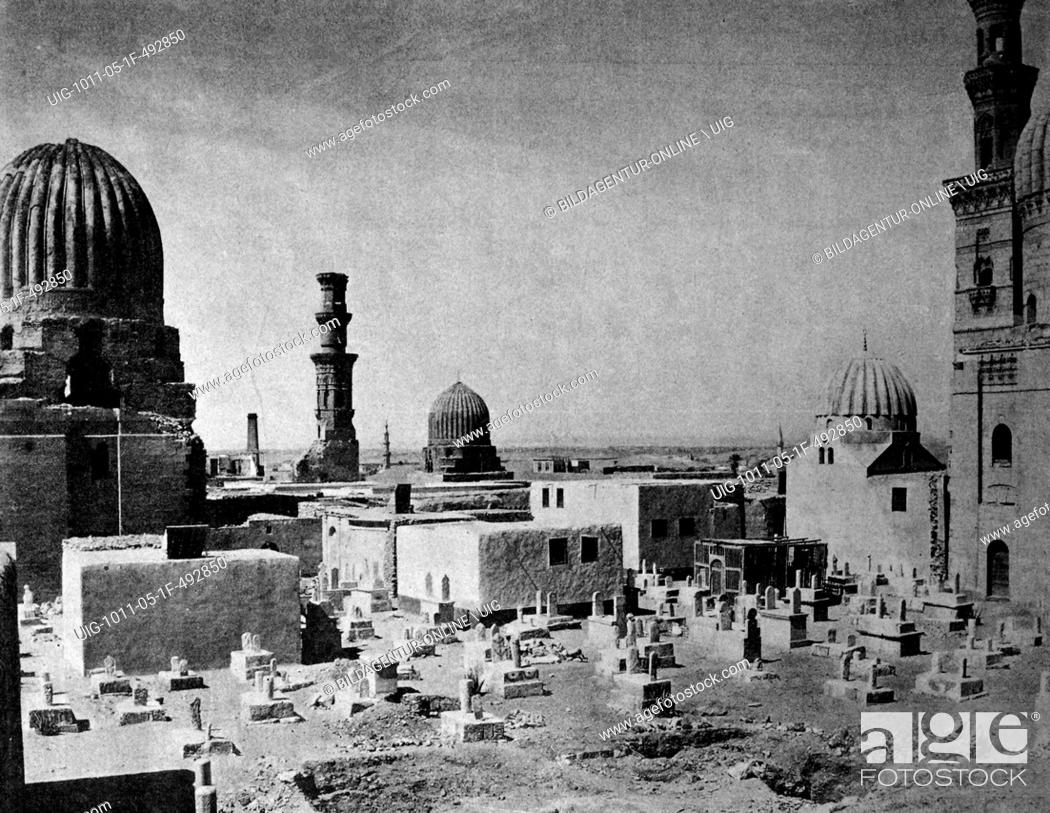 Stock Photo: One of the first autotype prints, mahomet cemetery, historic photograph, 1884, cairo, egypt, africa.