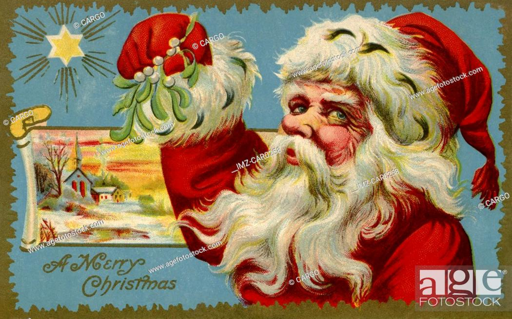 Stock Photo: Vintage Christmas postcard of Santa Claus holding mistletoe.