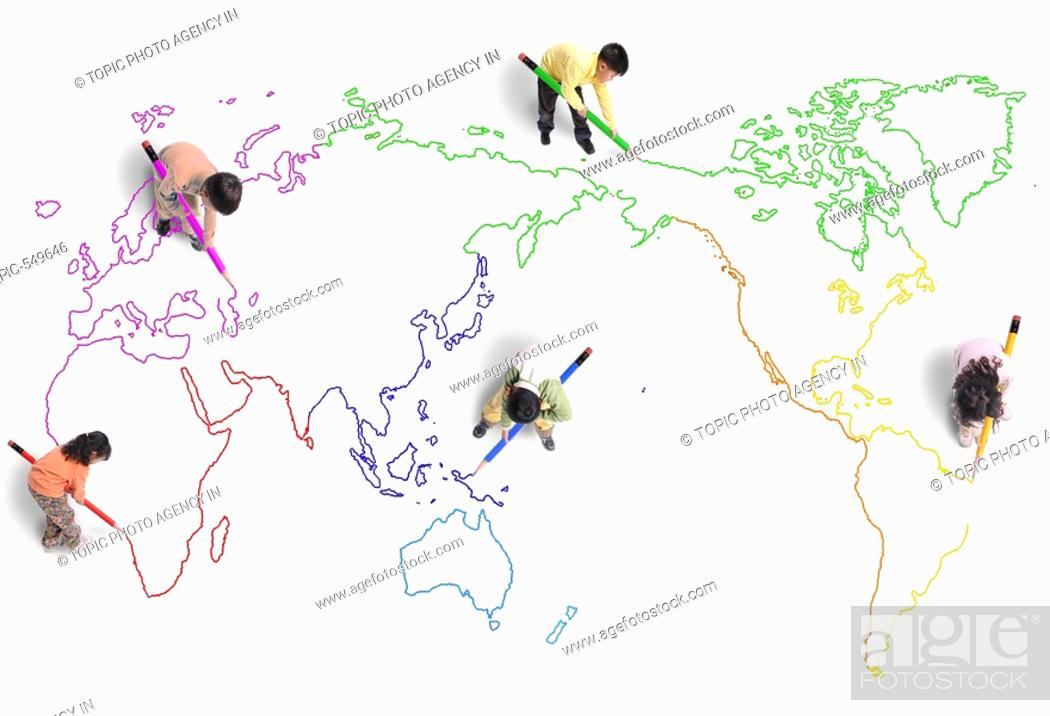 Kids drawing world mapkorean stock photo picture and rights stock photo kids drawing world mapkorean gumiabroncs Image collections