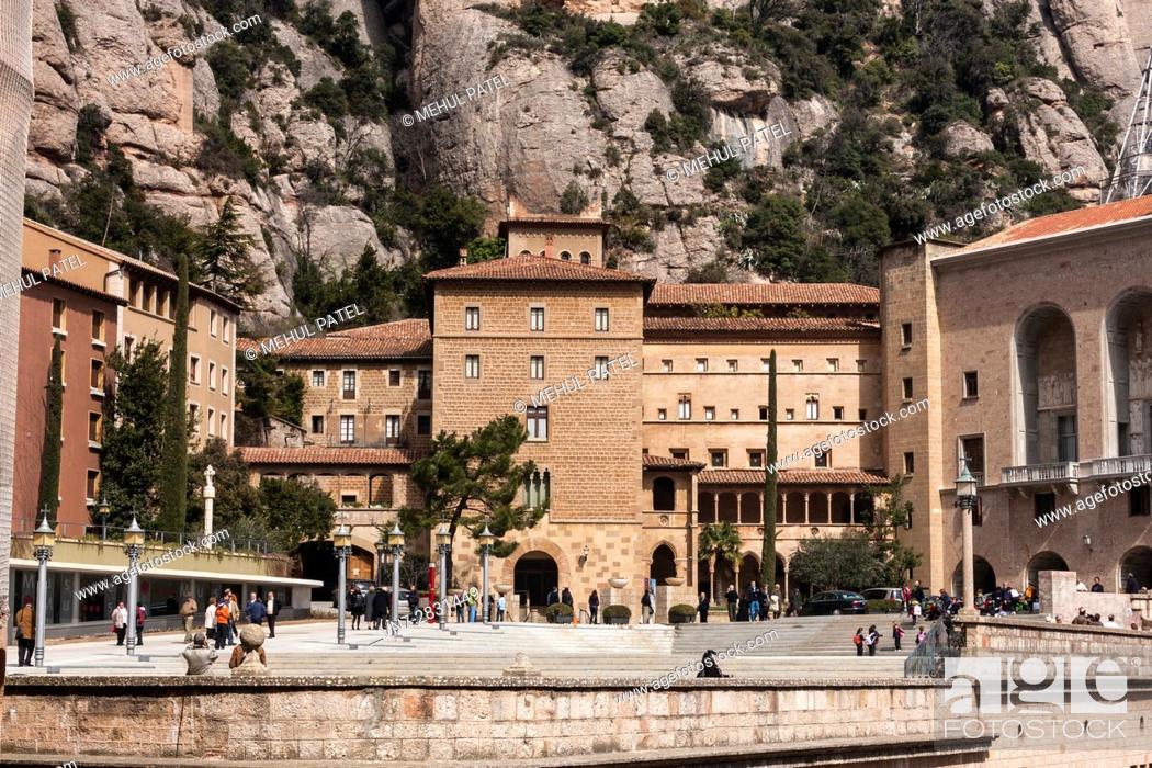 Stock Photo: The Sanctuary, Santa Maria Square, Montserrat, Catalonia, Spain.