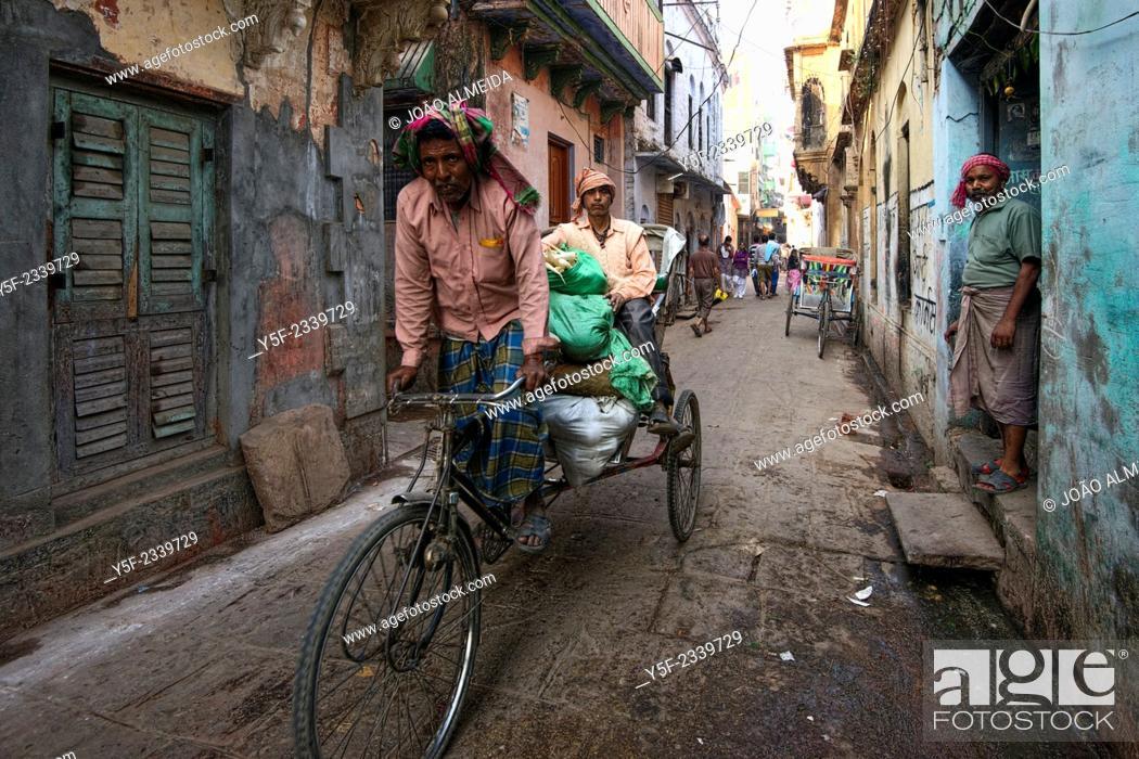 Stock Photo: The narrow alleys of old Varanasi's old town.