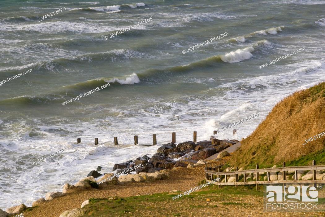 Stock Photo: Sea coast from Cliff walk, Milford on Sea, Hampshire, South England, UK.