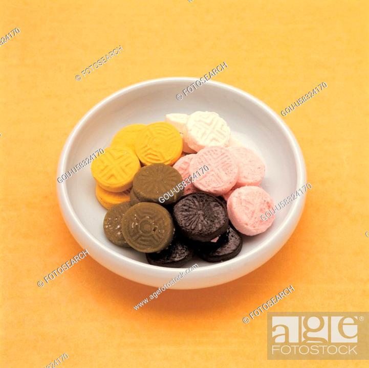 Stock Photo: korea culture, cuisine, rice cake, dessert, snack, food.