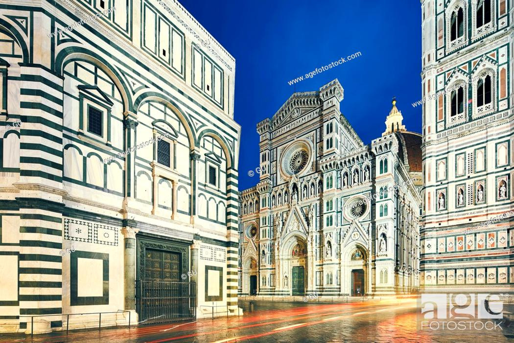 Stock Photo: View of Florence Cathedral, Baptistery of St John and Giotto's Campanile at night, Florence, Italy.