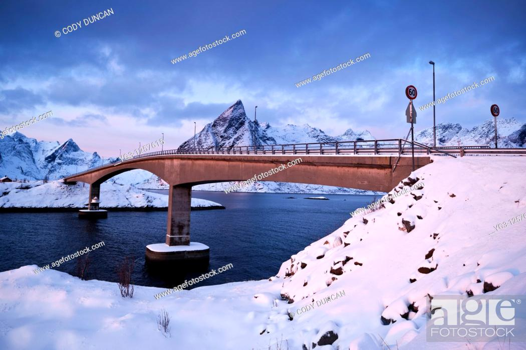 Stock Photo: Winter view of bridge on E10 connecting Hamnøya and Toppøya islands, Lofoten islands, Norway.