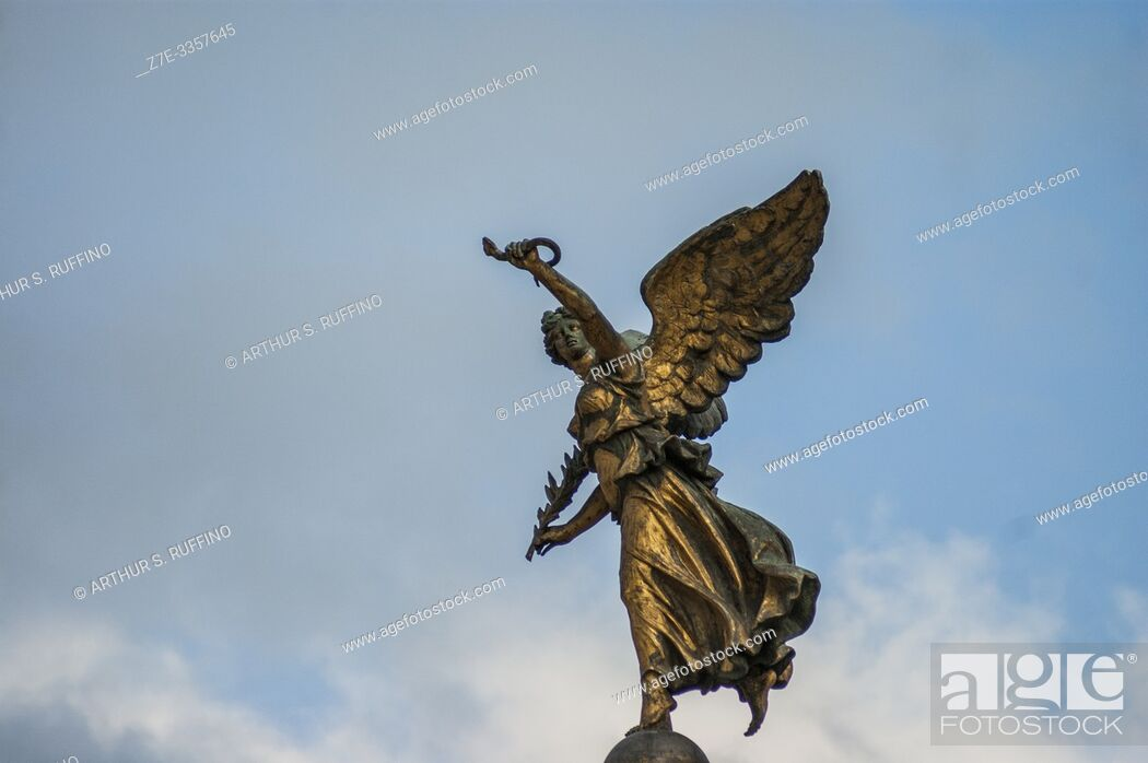Stock Photo: Winged Victory bronze sculpture. Victor Emmanuel II Monument (Monumento Nazionale a Vittorio Emanuele II). Rome, Italy, Europe.