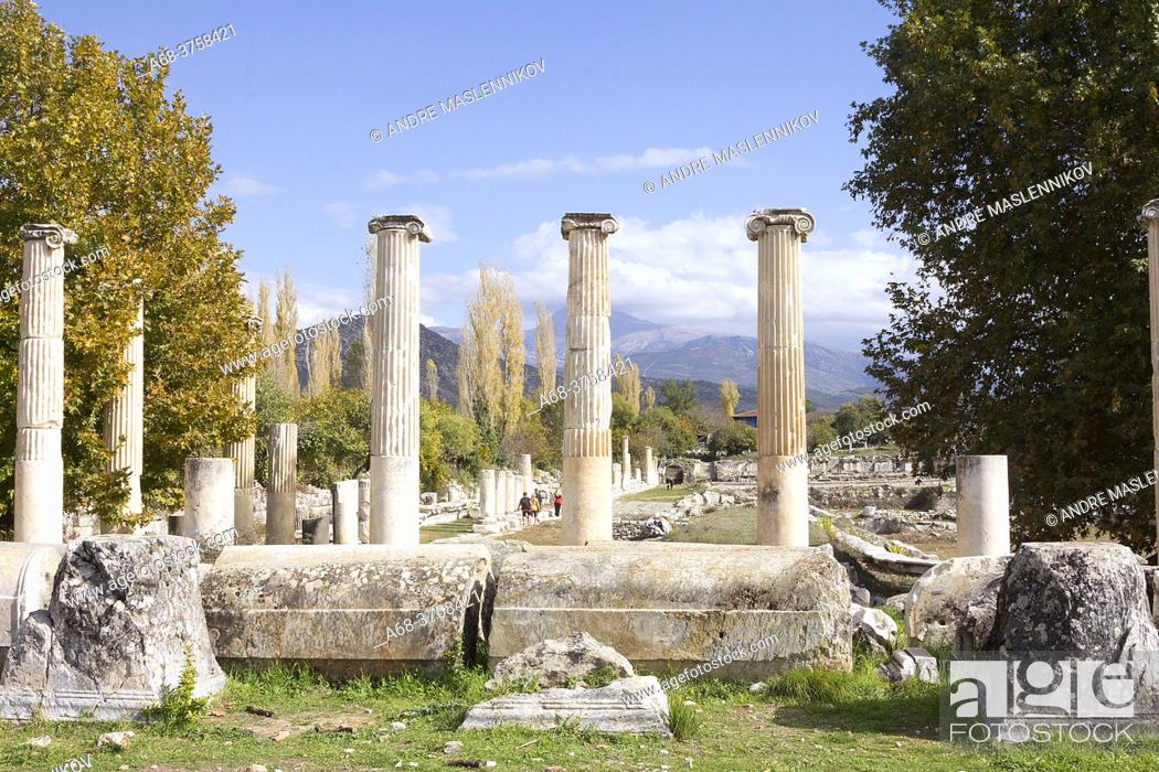 Stock Photo: The ancient city of Aphrodisias is one of the most rewarding and atmospheric Greco-Roman archaeological sites in Turkey. Aphrodisias lies in the Maeander river.