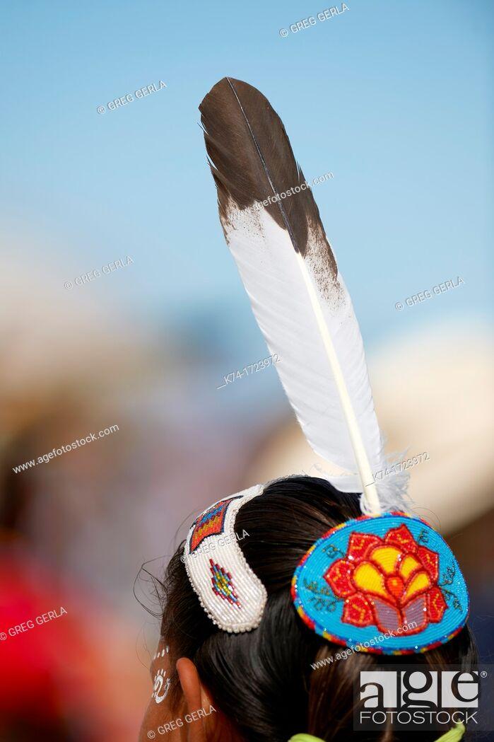 Stock Photo: headdress of a first nations person Calgary, Alberta, Canada.