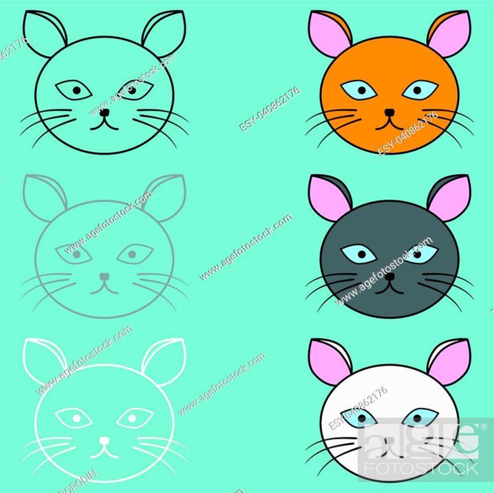 Vector: The cat face different colour set.