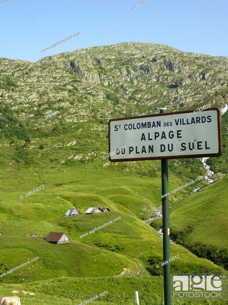 Stock Photo: road sign at St. Colomban des Villards in Auvergne, France.