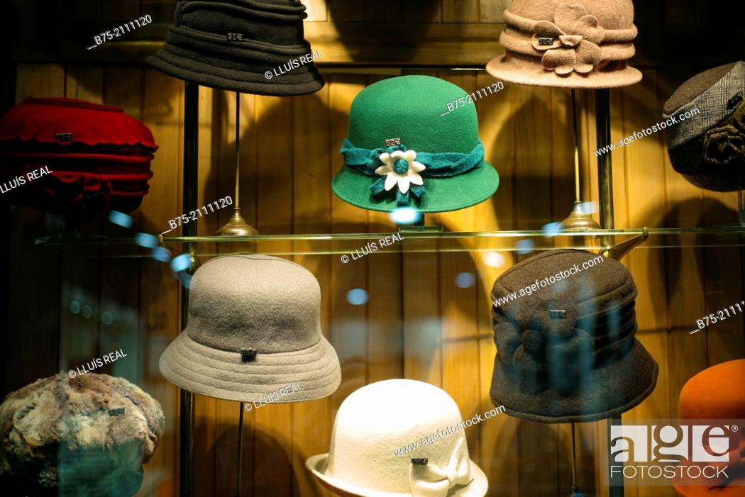 Stock Photo - Close up of hats in showcase in a hat shop in the Gothic  neighborhood of Barcelona c5aeff936324