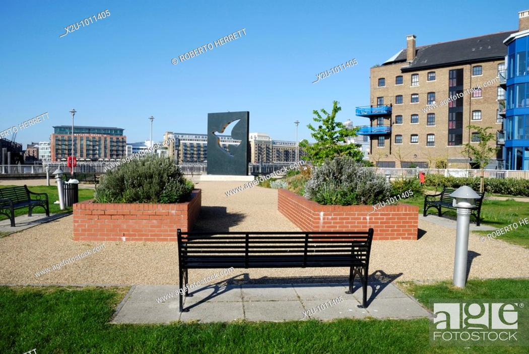 Stock Photo: Hermitage Riverside Memorial Garden in Wapping, London, England  The garden commemorates the civilians who died in the London blitz bombings which commenced on.