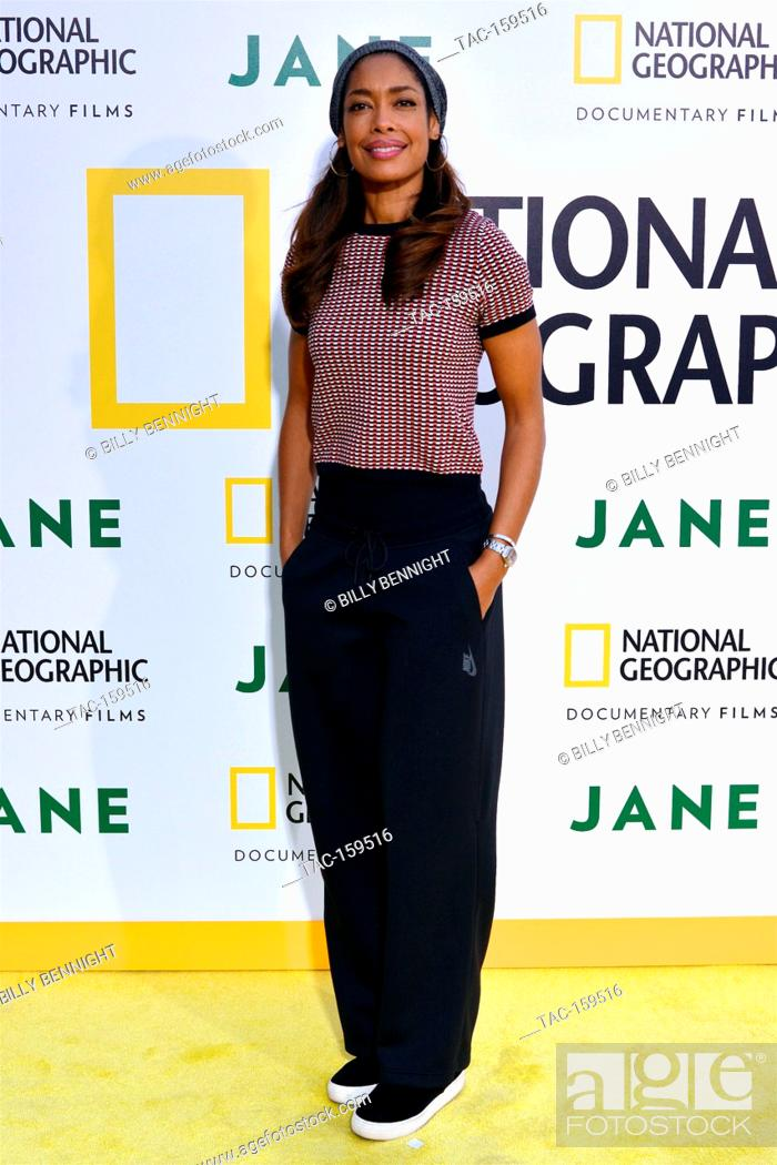 """Stock Photo: Actress Gina Torres arrives at the Los Angeles Premiere of National Geographic Documentary Films' """"""""Jane"""""""" at the Hollywood Bowl in Hollywood."""
