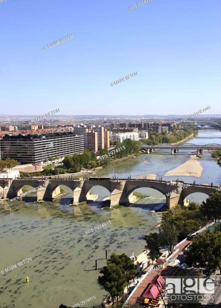 Stock Photo: Aerial View of Puente de Piedra Stone Bridge across Ebro River Zaragoza Spain.