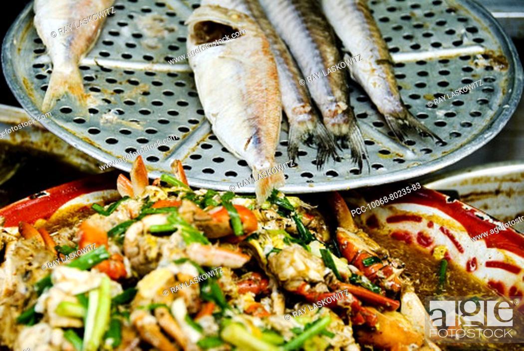 Stock Photo: Thailand, Bangkok, Close-up of unusual delicacies found at street vendor food stalls.