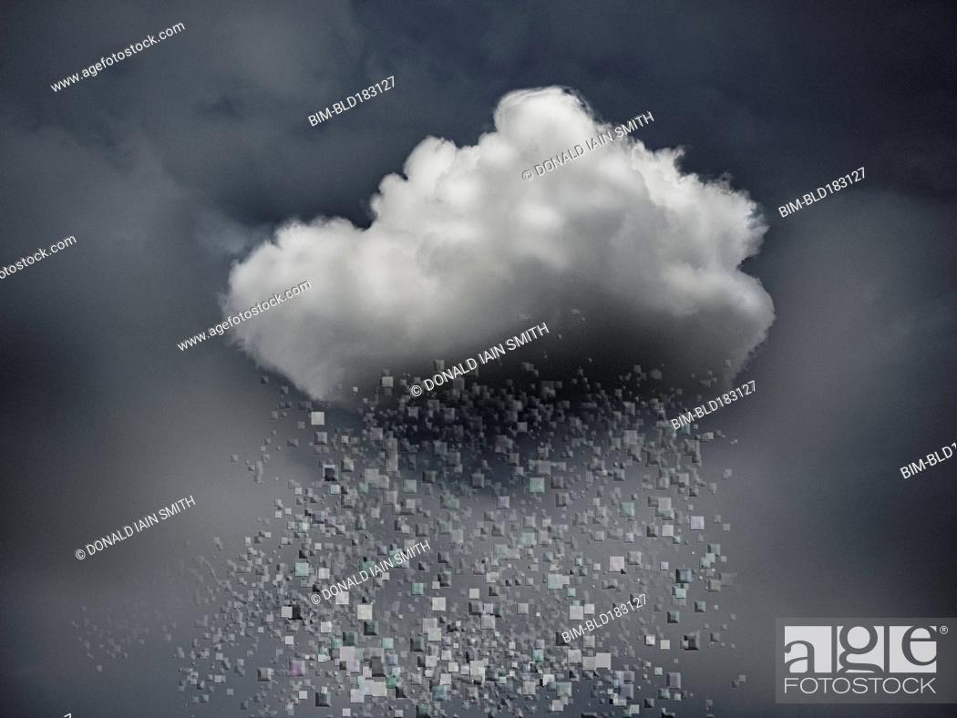 Stock Photo: Data blocks raining from storm cloud.
